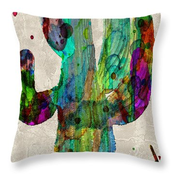 Saguaro Cactus Rainbow Print Poster Throw Pillow