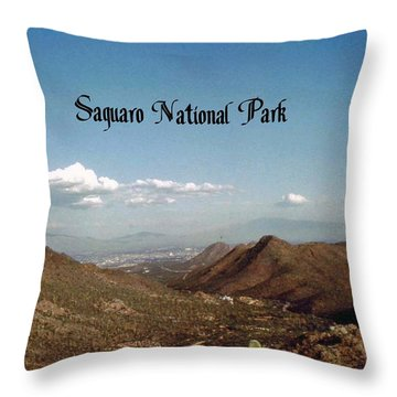 Saguaro National Park Throw Pillow by Gary Wonning
