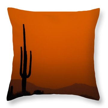 Throw Pillow featuring the photograph Saguaro Sunset by Jeff Phillippi