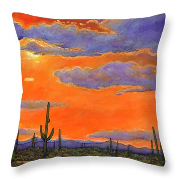 Saguaro Sunset Throw Pillow by Johnathan Harris