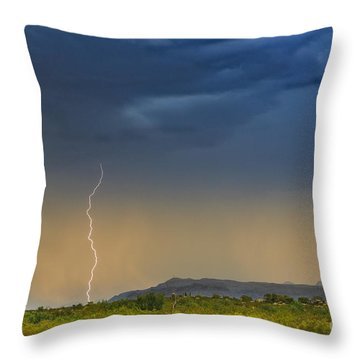 Saguaro With Lightning Throw Pillow