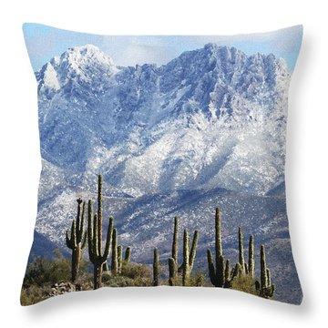 Saguaros At Four Peaks With Snow Throw Pillow