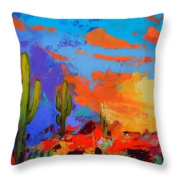 Saguaros Land Sunset By Elise Palmigiani - Square Version Throw Pillow by Elise Palmigiani