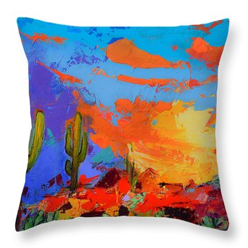 Saguaros Land Sunset Throw Pillow