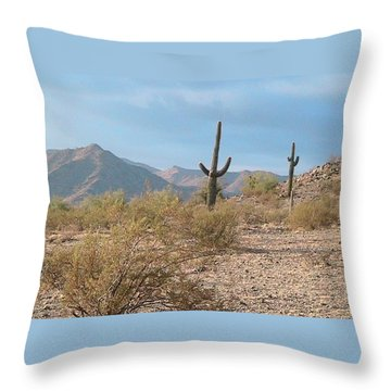 Saguaros On A Hillside Throw Pillow