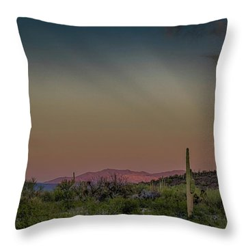 Saguaros Salute Rays Rising Throw Pillow