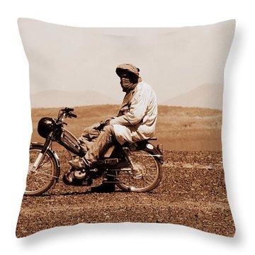 Throw Pillow featuring the photograph Sahara Biker by Ramona Johnston
