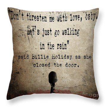 Said Billie Holiday Throw Pillow by Cinema Photography