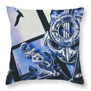 Sail Anchors And Boat Buoys  Throw Pillow