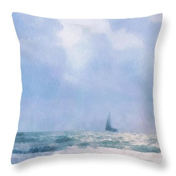 Throw Pillow featuring the digital art Sail At Sea by Francesa Miller