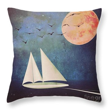 Throw Pillow featuring the digital art Sail Away by Alexis Rotella