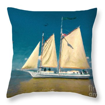 Throw Pillow featuring the painting Sail Away by Chris Armytage