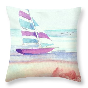 Throw Pillow featuring the painting Sail Away by Denise Fulmer