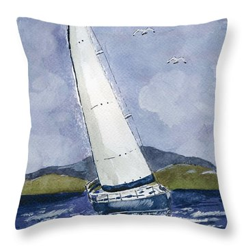 Throw Pillow featuring the painting Sail Away by Eva Ason