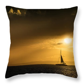 Throw Pillow featuring the photograph Sail Away Maui by Janis Knight