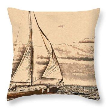 Sail Away Throw Pillow by Pamela Blizzard