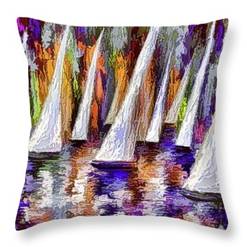 Throw Pillow featuring the painting La Regata Decorative Horizontal Panorama Painting By Olena by OLena Art Brand
