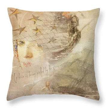 Throw Pillow featuring the digital art Sail Away by Sue Collura