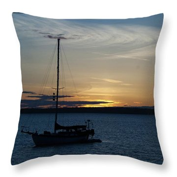 Sail Boat At Sunset Throw Pillow