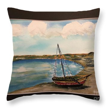 Throw Pillow featuring the painting Sail Boat On Shore by Donald Paczynski