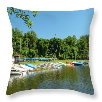 Sail Boats At Rest Throw Pillow by Donald C Morgan
