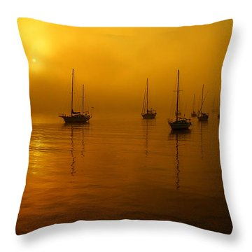 Sail Boats In Fog Throw Pillow