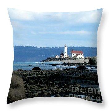 Sailboat And Lighthouse Throw Pillow