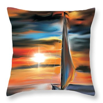 Sailboat And Sunset Throw Pillow
