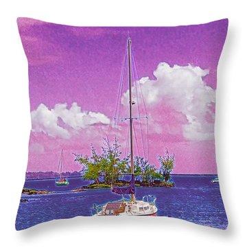 Sailboat At Reeds Bay Hilo Aloha Throw Pillow