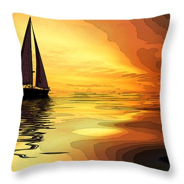 Sailboat At Sunset Throw Pillow by Charles Shoup