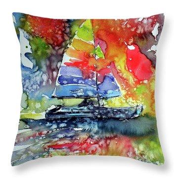 Sailboat At Sunset II Throw Pillow by Kovacs Anna Brigitta