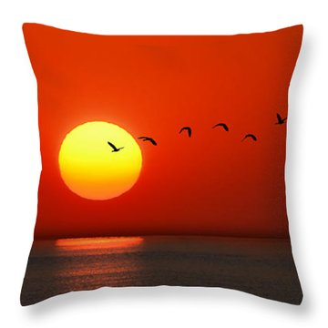 Sailboat At Sunset Throw Pillow by Joe Bonita