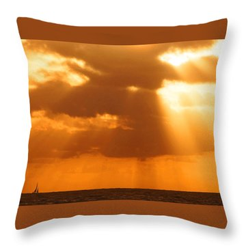 Sailboat Bathed In Hazy Rays Throw Pillow