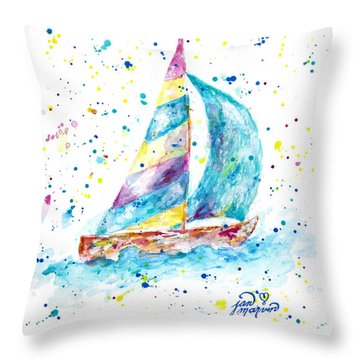 Sailboat By Jan Marvin Throw Pillow
