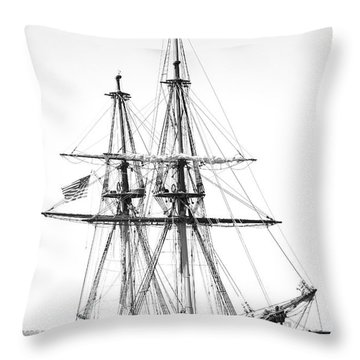 Sailboat Docked In Cleveland Harbor Throw Pillow