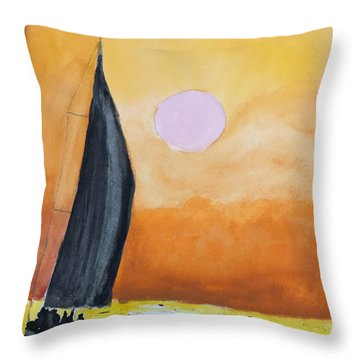 Throw Pillow featuring the painting Sailboat by Donald Paczynski