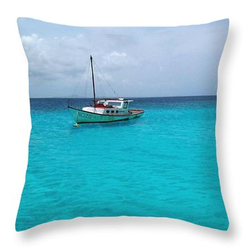 Sailboat Drifting In The Caribbean Azure Sea Throw Pillow by Amy McDaniel