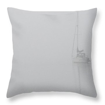 Sailboat In Fog Throw Pillow