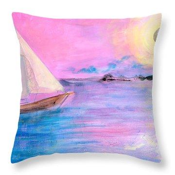 Sailboat In Pink Moonlight  Throw Pillow