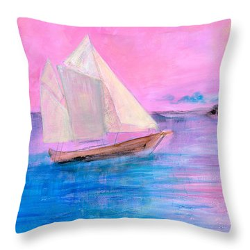 Sailboat In Pink Moonlight  Throw Pillow