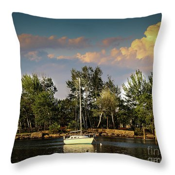 Sailboat In The Bay Throw Pillow