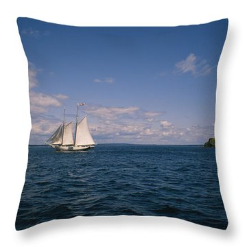 Sailboat In The Sea, St. Maarten Throw Pillow