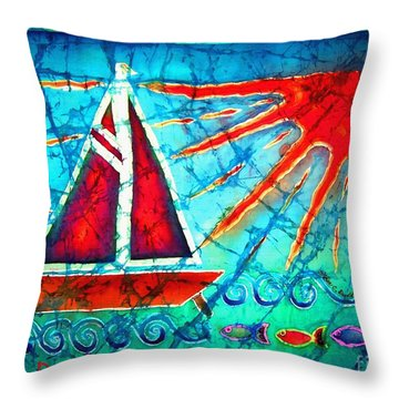 Sailboat In The Sun Throw Pillow by Sue Duda