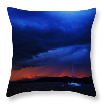 Throw Pillow featuring the photograph Sailboat In Thunderstorm by Sean Sarsfield