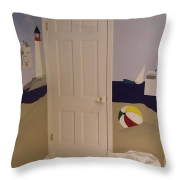Sailboat Mural IIi Throw Pillow by Anna Villarreal Garbis