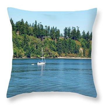Sailboat Near San Juan Islands Throw Pillow