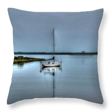 Sailboat Off Plash Throw Pillow
