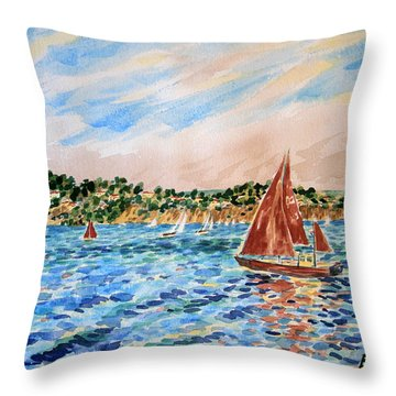 Sailboat On The Bay Throw Pillow