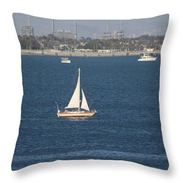 Sailboat On The Pacific In Long Beach Throw Pillow