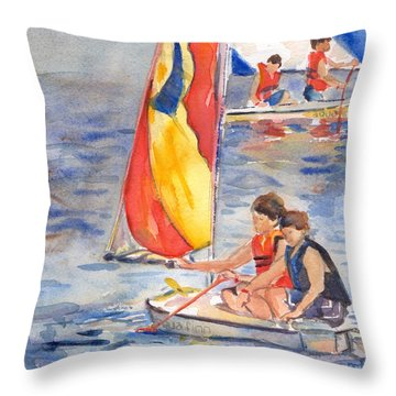 Sailboat Painting In Watercolor Throw Pillow
